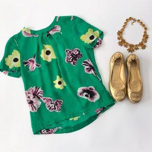 J. Crew floral silk top